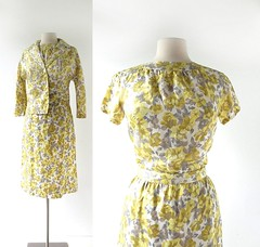 1960s yellow floral print skirt suit (Small Earth Vintage) Tags: smallearthvintage vintagefashion vintageclothing suit 1960s 60s yellow floralprint skirtsuit blouse skirt jacket