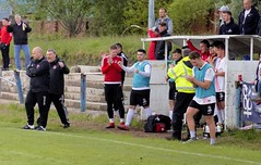 A happy technical area as the final whistle sounds (Stevie Doogan) Tags: clydebank shettleston mcbookiecom west scotland league superleague first division holm park saturday 20th may 2017 bankies scottish juniors