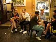 Conversation - Trastevere/Rome (mikehaui60) Tags: olympuspenepm2 pen epm2 mft streetlife peoplephotography streetphotography people conversation trastevere rome italy nightshot