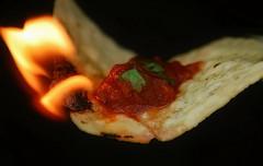 Flamin Hot Salsa & Chips (Caroline.32) Tags: macro macromondays chips nikond3200 extensiontubes extensiontube12mm flame flames salsa cilantro hot spicy tortillachip 55300mmlens