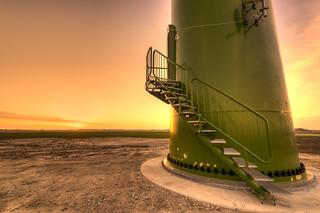 The base of a wind turbine.