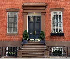 Close neighbors:  152-154 Waverly Place (1839), Greenwich Village, New York (Spencer Means) Tags: greenwich villagenew york manhattan city nyc ny neighborhood door doorway steps stoop window brick brickwork street place waverly dwwg