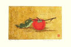 Japanese persimmon (Japanese Flower and Bird Art) Tags: flower persimmon diospyros kaki ebenaceae kazutoshi sugiura screenprint print japan japanese art readercollection