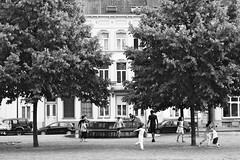 Free As A Bird (Ren-s) Tags: noir noiretblanc noirblanc blanc nb bw blackandwhite black blackwhite white contrast contraste feuilles leaf trees arbres people personne outside extérieur belgique belgium bruxelles brussels europe street streetphotography rue photographiederue enfants jeunes kids young jouer playing spring printemps arbre place square windows fenêtres house maisons fontaine fountain pavé pavement cobblestones eau water toit roof tuile tiles canon eos 600d efs1855mm f3556 is outdoor bnw