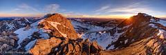 Sunrise, Moon Set (OJeffrey Photography) Tags: mtevans mountevans colorado co coloradorockymountains panorama pano sunrise mountains snow fullmoon moon starburst ojeffrey ojeffreyphotography nikon jeffowens d800
