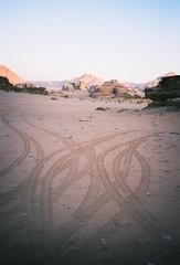 (louis de champs) Tags: minoltasrt101 kodak portra 400 pushed800 wadirum desert jordan sunset pickup tracks rocks