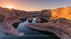 Reflection Canyon - Lake Powell - Utah (~ Floydian ~ ) Tags: henkmeijer floydian photography reflectioncanyon utah lakepowell lake canyon sunrise morning dawn sunburst unitedstates american southwest desert landscape landscapes view leefilters canon canon5dmarkiv