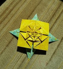 Andrea's Rose with Leaves, front (Aneta_a) Tags: origami fractal jcnolan andreasrose flower yellow green