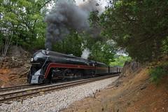 Shawsville Split (ajketh) Tags: nw norfolk western jclass 484 611 steam engine passenger train railroad southern va virginia smoke show blue ridge mountains shawsville pour