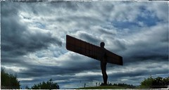 Angel (Develew) Tags: tyneside anthonygormley angelofthenorth gateshead sculpture statues art modernart a1 sky skyscapes clouds silhouette shadow outline