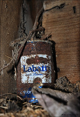 In the Corner (John Neziol) Tags: jrneziolphotography labbatsbeercan labbatsbeer canadianbeer beercan rusty old abandoned can corner nikon nikoncamera nikondslr nikond80 rustic odd ontario outdoor barnboard barn