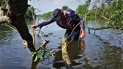 Fulda Aue (marcostetter) Tags: wet wetclothing wetclothes wetjeans wetlook wetshirt rain jeans bluejeans tinyjeans water lake landscape