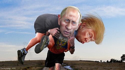 Carrying Trump on his shoulders?  Man, Putin IS strong.