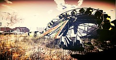 Abandonned (Claire Bricklin) Tags: abandonned lost secondlife sl virtuality roleplay ferriswheel car nostalgic nostalgia vintage tree grass automobil