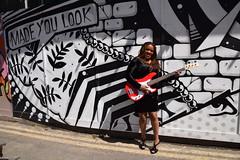 DSC_2362 Angenita Reggae Singer on Location with Street Art Made you Look Shoreditch London (photographer695) Tags: angenita reggae singer location with street art shoreditch london made you look