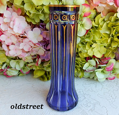 Val St Lambert Crystal Vase Cobalt Blue Gold Cut to Clear ~ Signed (Donna's Collectables) Tags: val st lambert crystal vase cobalt blue gold cut clear ~ signed