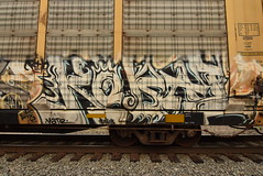 KOBAL (TheGraffitiHunters) Tags: graffiti graff spray paint street art colorful freight train tracks benching benched racks autoracks kobal