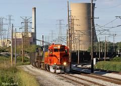 CSS 2003 @ Michigan City, IN (Michael Polk) Tags: csssb chicago south shore bend railroad freight coal train electric michigan city power plant nipsco csx ge