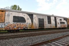 DNB SONE ? (TheGraffitiHunters) Tags: graffiti graff spray paint street art colorful freight train tracks rolling canvas painted steeel autoracks racks dnb crew whole car roller ribbet sone