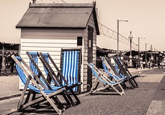 Deck Chairs (_John Hikins) Tags: paignton torbay beach hut chair chairs deck deckchairs road path pathway colour color pop sea seaside selective nikon nikkor 50mm 50mm18 d5500 devon