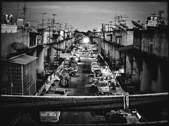 Concrete Street - Khlongtoei (Julien Cha.) Tags: klongtoey bangkok krungthep cityofangels thailand soi urban blackandwhite street night filmnoir