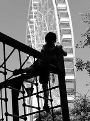 Climbing Summer (un2112) Tags: kids son g80 summer ferriswheel budapest june blackandwhite bw monochrome humansofbudapest climbing