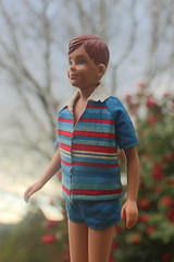 Our 7th Anniversary (DeanReen) Tags: vintage mod ricky barbie skipper doll mattel 1964 1965 1966 66 65 64 red head titian freckles swimsuit bathers shorts shirt stripes striped blue garden sky mint people