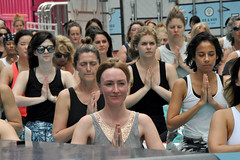 yoga (greenelent) Tags: yoga people streets timessquare newyork nyc 365 photoaday women namaste