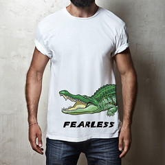fearless crocodile (D E S I G N - T) Tags: hipster model guy fashion fashionable stylish posing casual people trendy muscular masculine man macho sexy lifestyle look shirt t tshirt white blank clothing front design elegance clothes store mock up mockup square