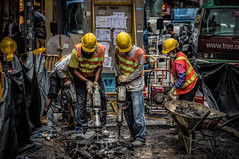 Working hard for the money (Chas56) Tags: street streetphotography people hongkong candid workers working work roadworks canon canon5dmkiii travel travelphotography ngc wow gorgous explored
