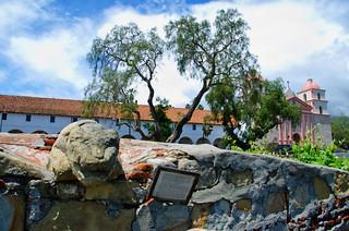 Stone carving at the old mission in Santa Barbara California