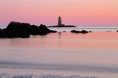 At Dusk (SunnyDazzled) Tags: lighthouse whaleback ledge lightstation dusk sunset rosy sky reflection sea ocean beach waves coast maine fortfoster kittery