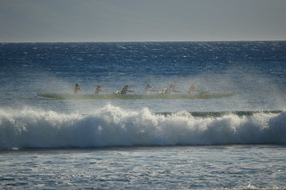 Outrigger in the surf