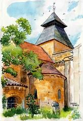 Cadouin,  clocher (Cat Gout) Tags: périgord cadouin église clocher sketch village abbaye eu