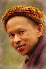 Thai Monk With Woolen Cap (ulli_p) Tags: asia art artofimages aworkofart awardtree exoticimage flickraward faces head likeapainting monks monk people portraits photoshop ruralthailand southeastasia thailand texture textured texturedphoto