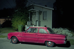 (patrickjoust) Tags: berkeley california red car small house night fujicagw690 kodakportra160 falcon 6x9 medium format 120 90mm f35 fujinon lens c41 color negative film manual focus analog mechanical cable release tripod long exposure patrick joust patrickjoust north america after dark usa united states estados unidos