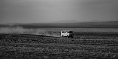 Desert Racing (sinestrobatman) Tags: russian van mongolia gobi desert black white old car vehicle oldtimer canon dusty dust travel travelphotogaphy canon70200f28lll