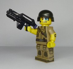 I call her 'Harsh Language' - BrickArms M4A1 Pulse Rifle V2 (enigmabadger) Tags: brickarms lego custom minifig minifigure fig weapon weapons accessory accessories combat war aliens colonial marines xenomorph james cameron