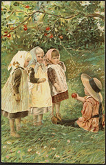 Sommermotiv av Jenny Nystrøm / Summer by Jenny Nystrøm (National Library of Norway) Tags: nasjonalbiblioteket nationallibraryofnorway postkort postcards kunstnerkort jennynystrøm barn children barndom childhood sommer summer