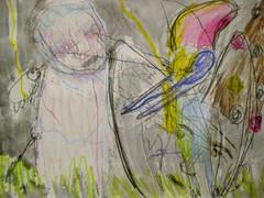 Thunder Clowns (giveawayboy) Tags: pencil crayon drawing sketch art acrylic paint painting fch tampa artist giveawayboy billrogers thunder clown clowns pterosaur tardigrade lightning grass waterbear