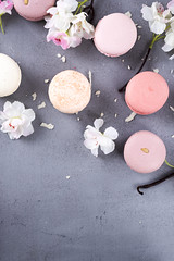 Sweet pastel macaroons (lyule4ik) Tags: macaroon food biscuit cookie vanilla flowers dessert french white above cake background bakery candy color colorful pastel top pink confectionery delicious green macaron pastry retro snack sweet vintage view closeup collection flat flavor gourmet orange sugar turquoise isolated assorted assortment chocolate coffee confection nobody tasty traditional yellow