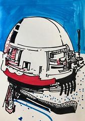 Jim Harris: Stockhausen Sirus Probe. (Jim Harris: Artist.) Tags: sirus rysunek zeitgenössische zeichnung lartabstrait art arte drawing jimharris space cosmology cosmos blue technology technik