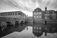 Reflective Castle Bridge (frank_w_aus_l) Tags: nordkirchen monochrome versailles castle germany nikon d800 pce bw sw noiretblanc perspective architecture bridge nordrheinwestfalen deutschland de contrast blackandwhite reflection water le
