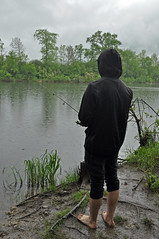 If you're not barefoot then you're overdressed. (hetzel4kd) Tags: mangrove outdoor rain raining forest woods lake water grass fish fishing barefoot pond