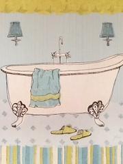 Claw foot Bathtub postcard (1) (lostinmaroc) Tags: restroom washroom green blue bathtub bath postcrossing postcard
