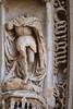 S. Georgius (saint George). Saintes, cathedral, west portal (c. 1460), archivolt. (markusschlicht) Tags: saintes cathedral kathedrale cathédrale saintpierre gothique gothic gotico gotisch gotik statue skulptur sculpture medieval mittelalter escultura portail portal westportal archivolt voussure archivoltenfigur knight ritter chevalier armor armure rüstung georges georg georgius george