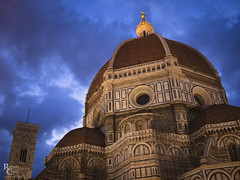 Twilight on the Duomo (RobertCross1 (off and on)) Tags: 20mmf17panasonic brunelleschi duomo em5 europe firenze florence giotto italia italy omd olympus piazzadelduomo santamariadelfiore toscana tuscany architecture bluehour bluesky cathedral church city clouds dusk medieval night tower twilight urban