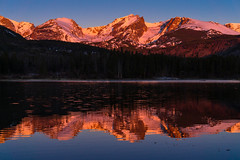 Alone on Sprague Lake, Rocky Mountain National Park (Adam Roades) Tags: mountains sunrise rockymountainnationalpark lake reflection landscape alpenglow