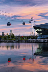 City Gondolas (JH Images.co.uk) Tags: reflection london cable cars sunset clouds emirates air line dusk royal docks hdr dri water