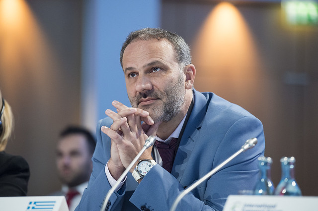 Nikolaos Mavraganis listening in at the Closed Ministerial